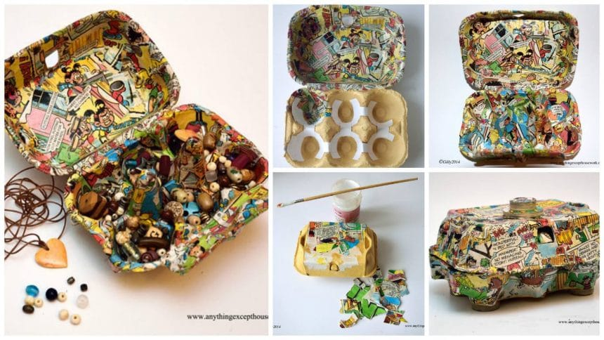 funky egg box bead storage