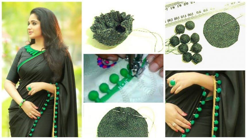 saree from fabric pompom
