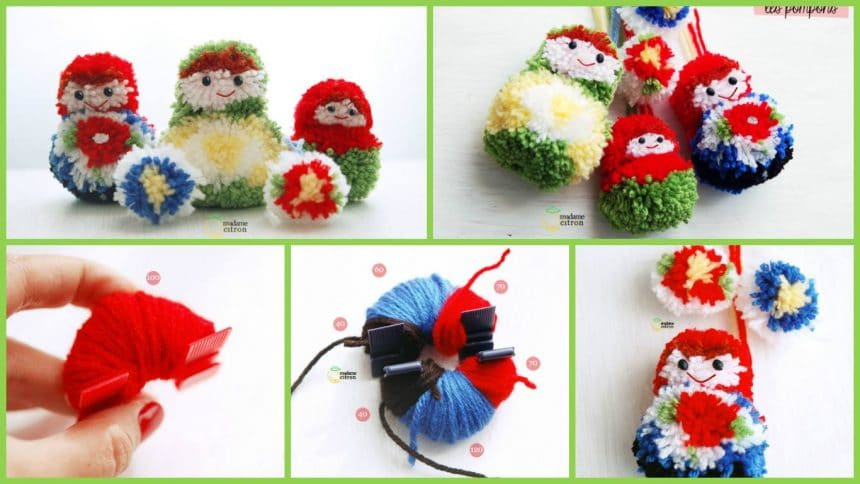 How to make pompom matriochka doll