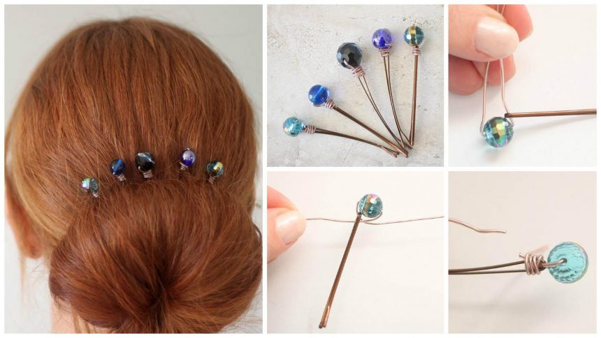 How to make wire wrapped beaded hair pins