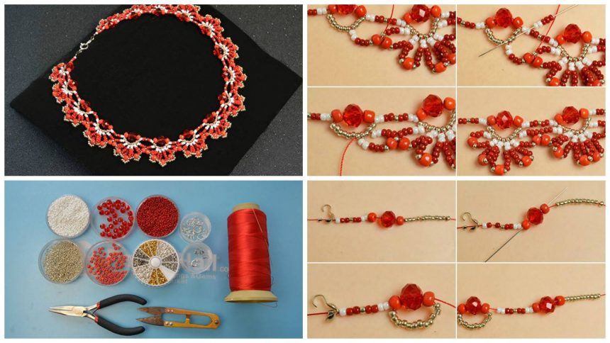 How to make a delicate red flower choker necklace