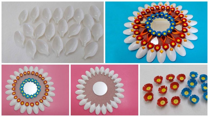 How to make plastic spoons mirror wall decor