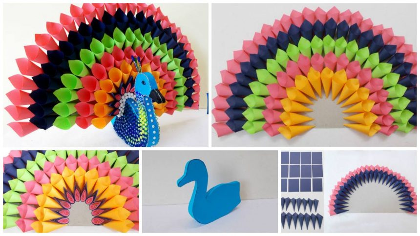 How to make multicolored paper peacock