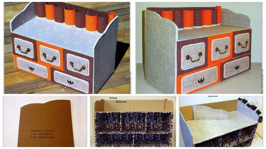 Make a cardboard roomy dresser with drawers