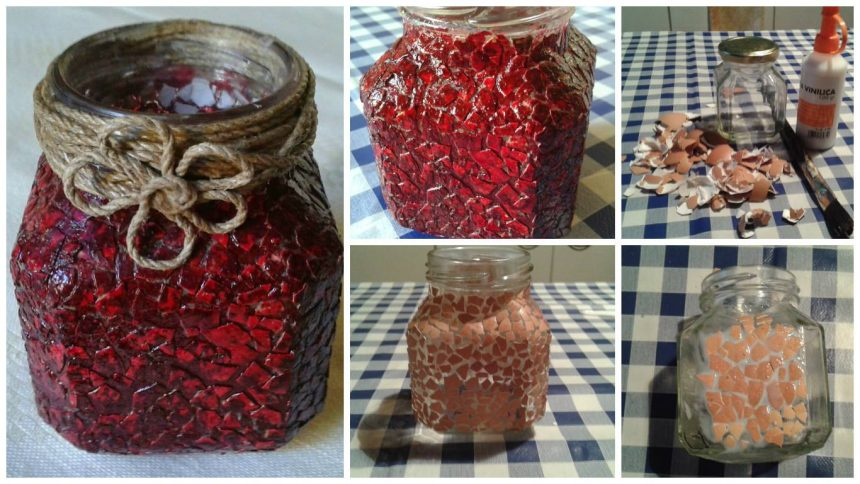 How to decorate a jar with eggshells