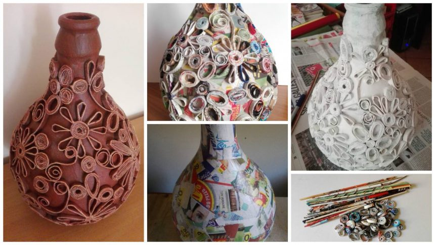 Carboy decorated with paper straws