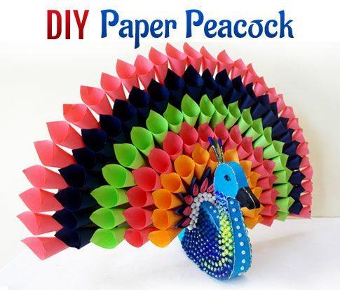 multicolored paper peacock