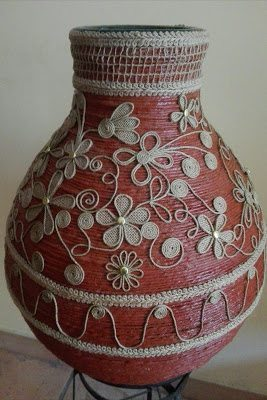 carboy decorated with rope