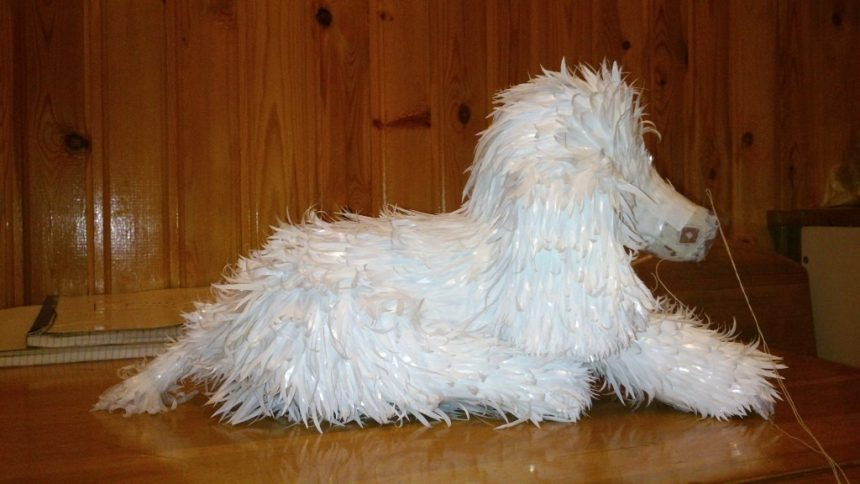 dog from plastic bags