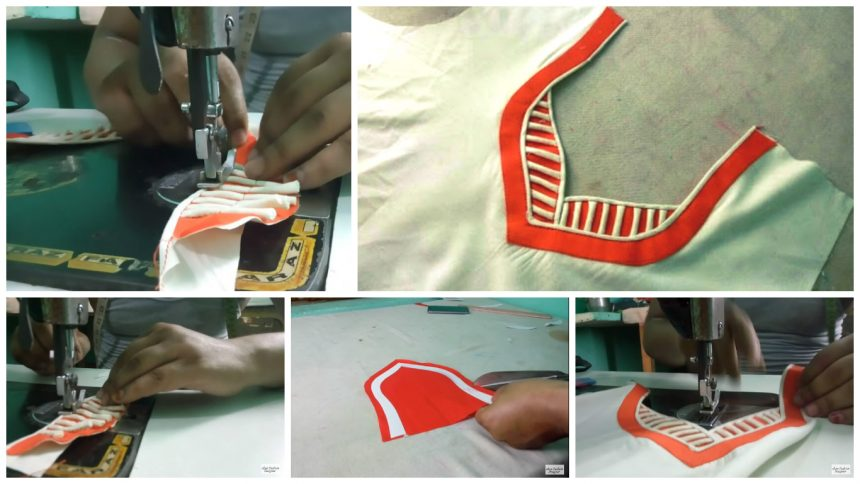 Piping on paan safe neck design cutting and stitching