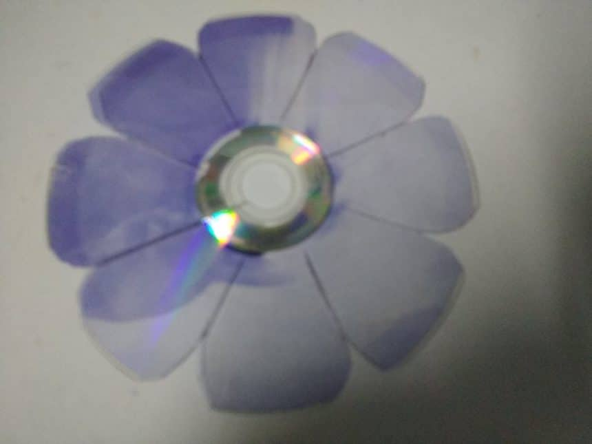 butterfly and flower from waste CD