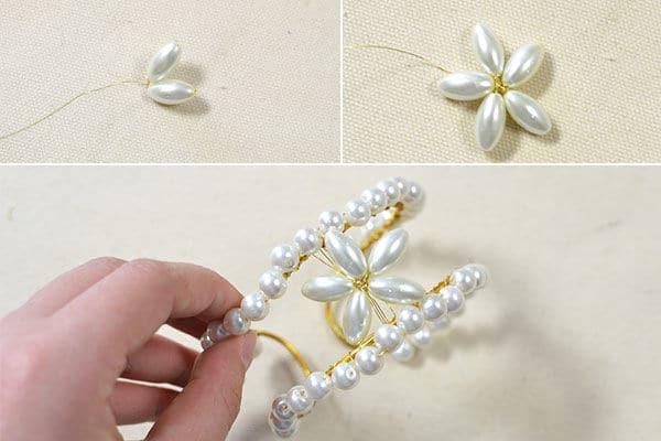 pearl bead bangle bracelet