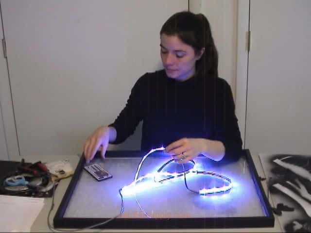 LED silhouette colour changing art