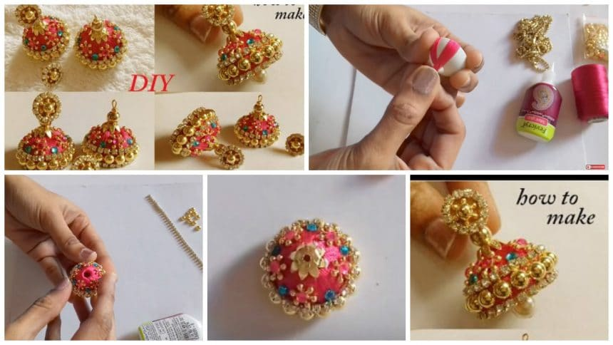 How to make designer silk thread bridal jhumka