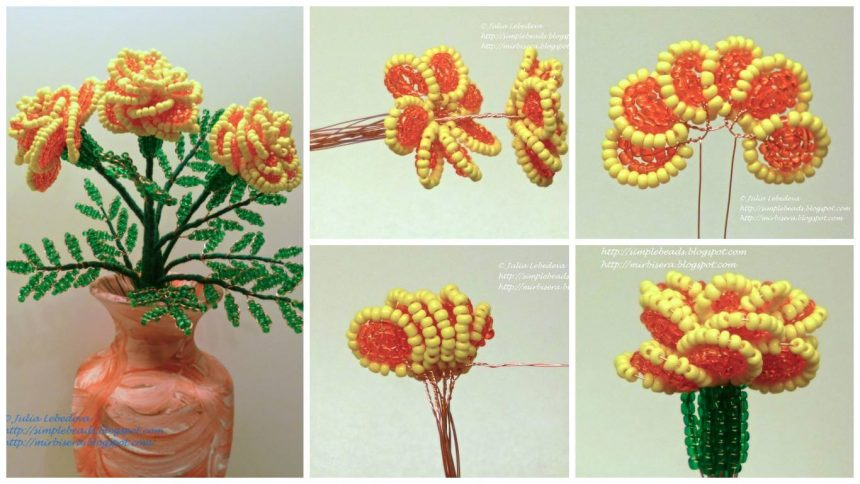 How to make marigold flower from bead