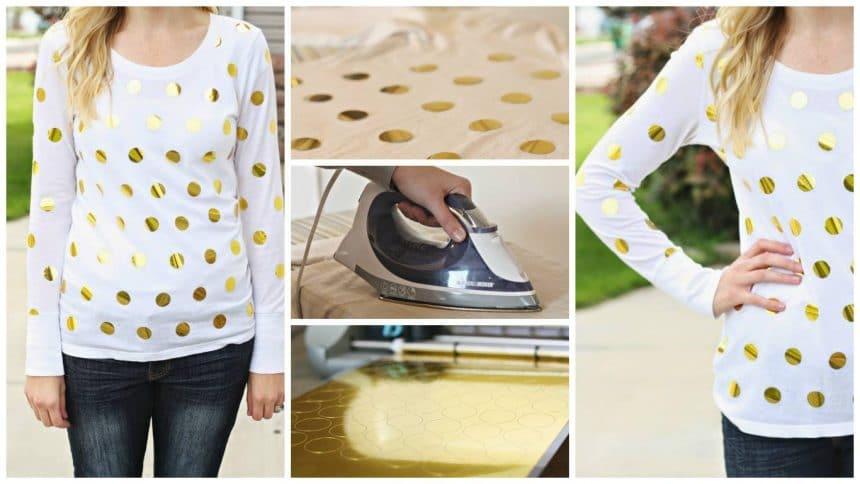 How to make gold foil polka dot shirt