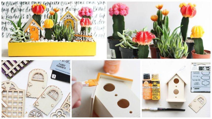 How to make bright cactus fairy garden