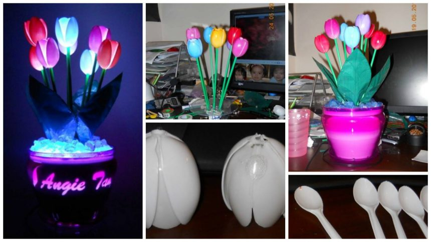 How to make the tulips of spoons lamp