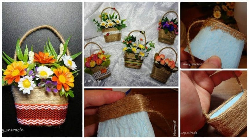 "How to make  small magnet ""Basket with flowers"""