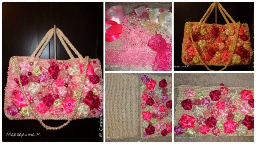 How to make a handbag from satin ribbons