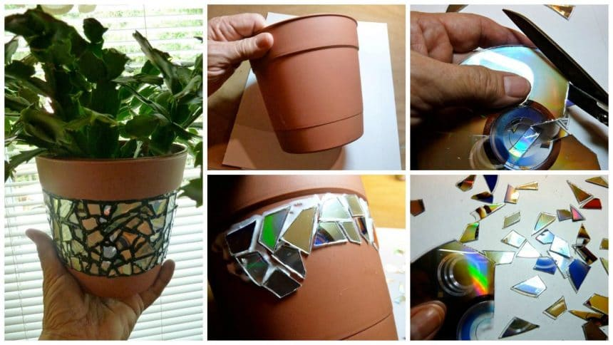 How to make mosaic flower pot from CD