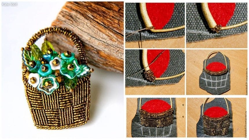 "How to make brooches ""Basket with flowers"""