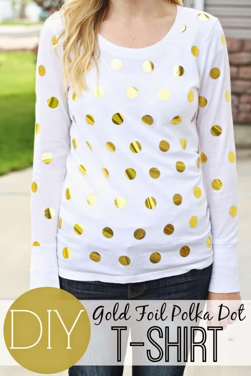 gold foil polka dot shirt