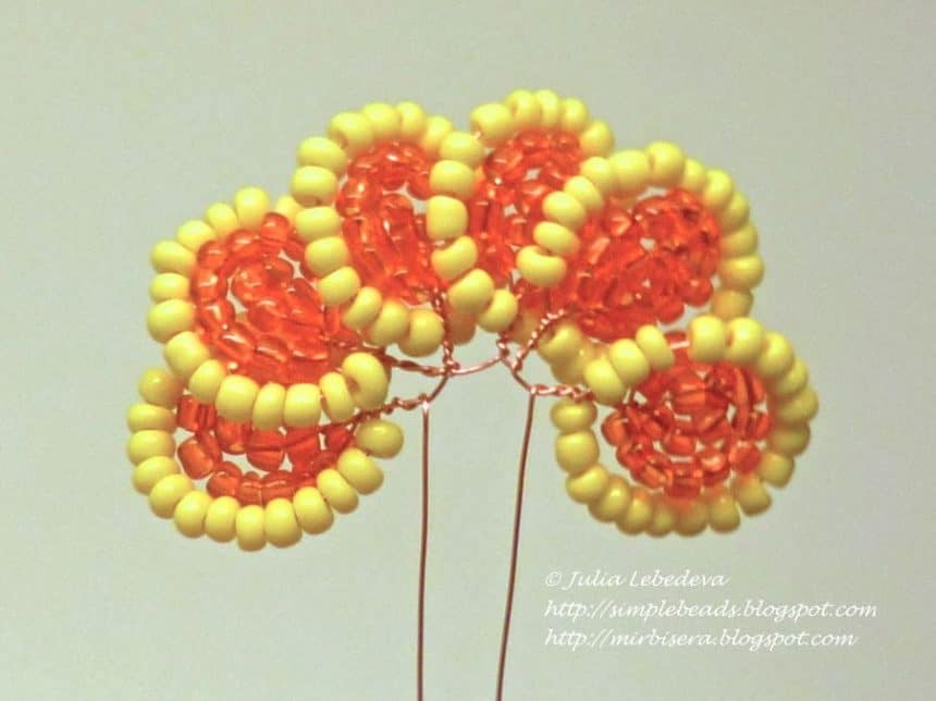 marigold flower from bead