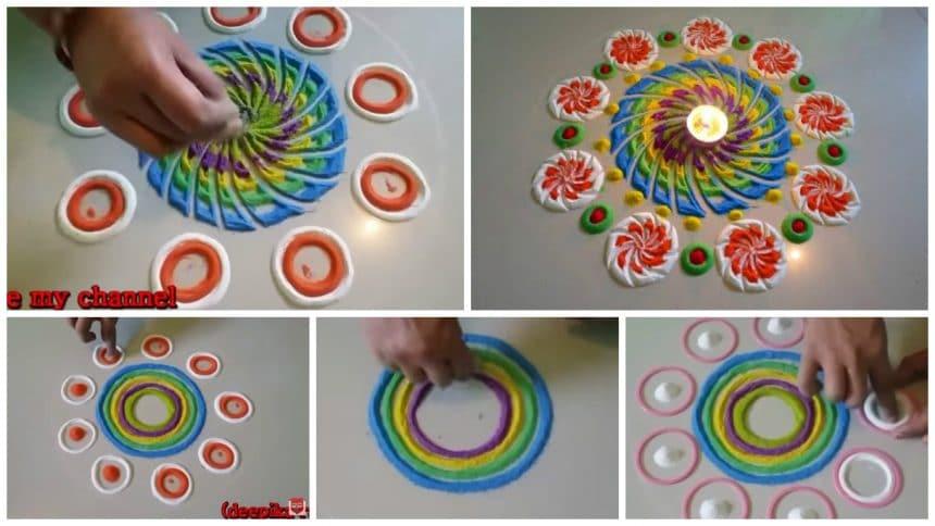Multi coloured and beautiful rangoli making