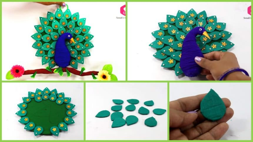 Cardboard Peacock Wall Hanging For Home Decor Simple Craft Ideas