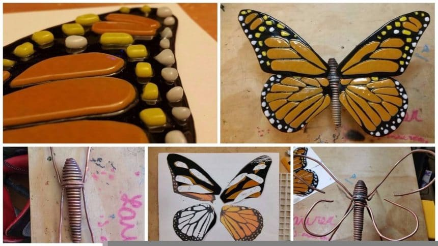 How to make copper wire and fused glass butterfly