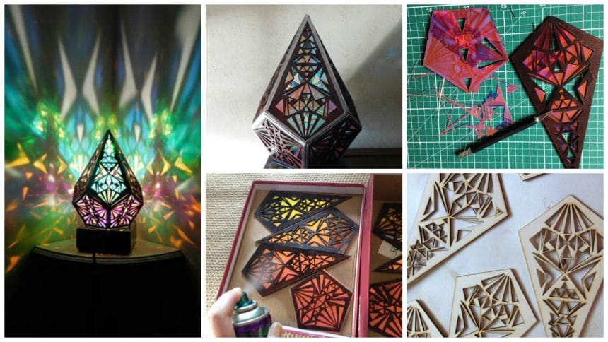 How to make five pointed rainbow prism lamp