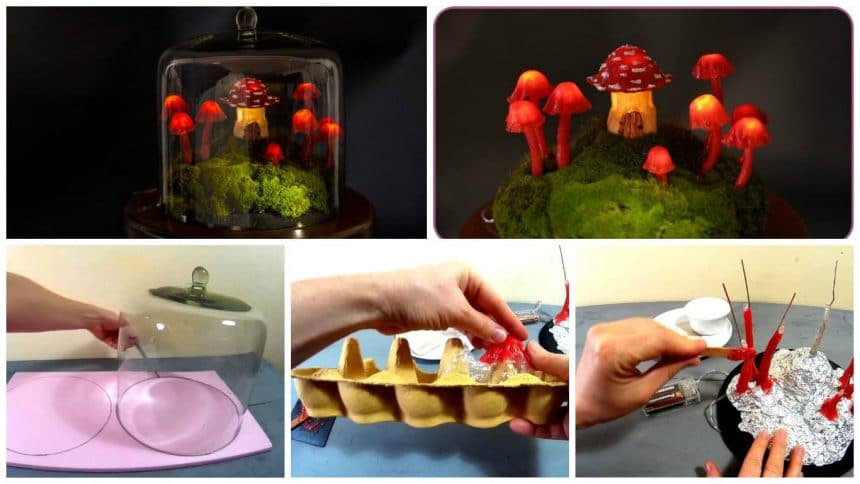 How to make miniature fairy garden terrarium with enchanted mushroom Lights