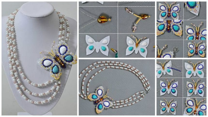 How to make a 3-starnd beaded butterfly necklace