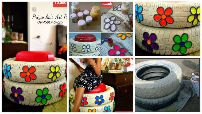 How to make a stylish ottoman turned out of old car tires