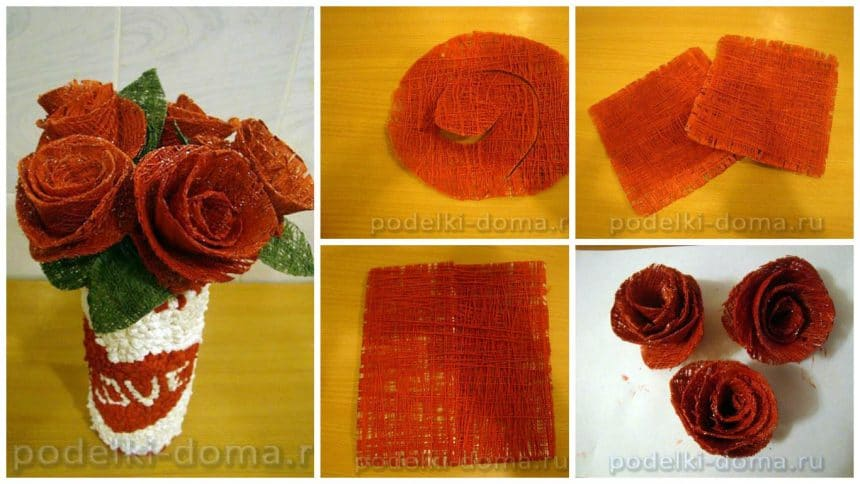 How to make bouquet of roses from sewing thread