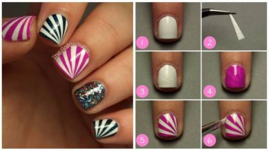 pretty starburst nails with tape