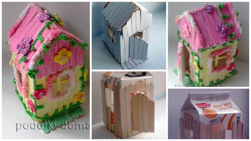 Toy house made of sticks of ice cream