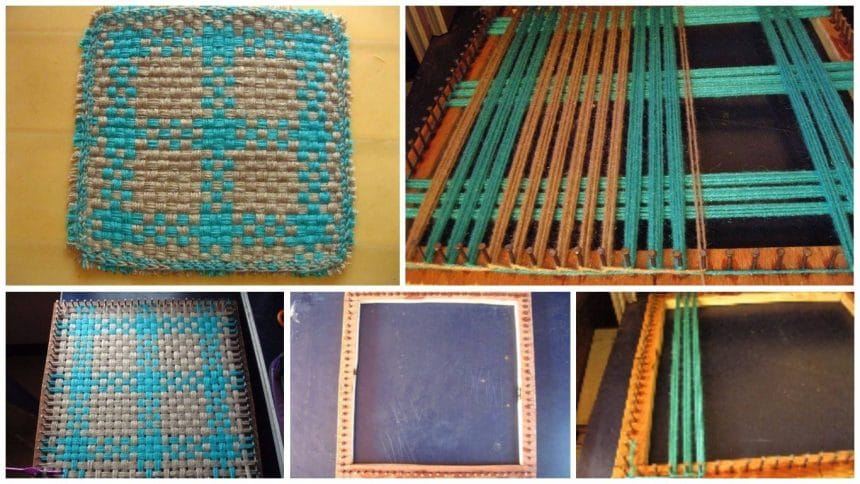 small table mat with home made loom