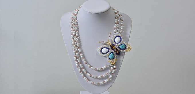 3-starnd beaded butterfly necklace