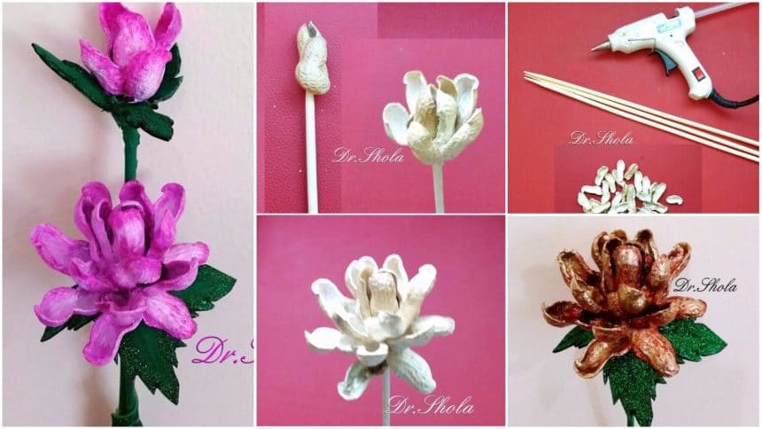 How to make flower from peanut shells