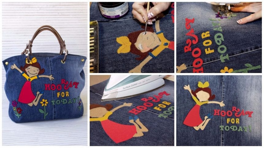 How to decorate the denim bag with a knitted fabric appliqué