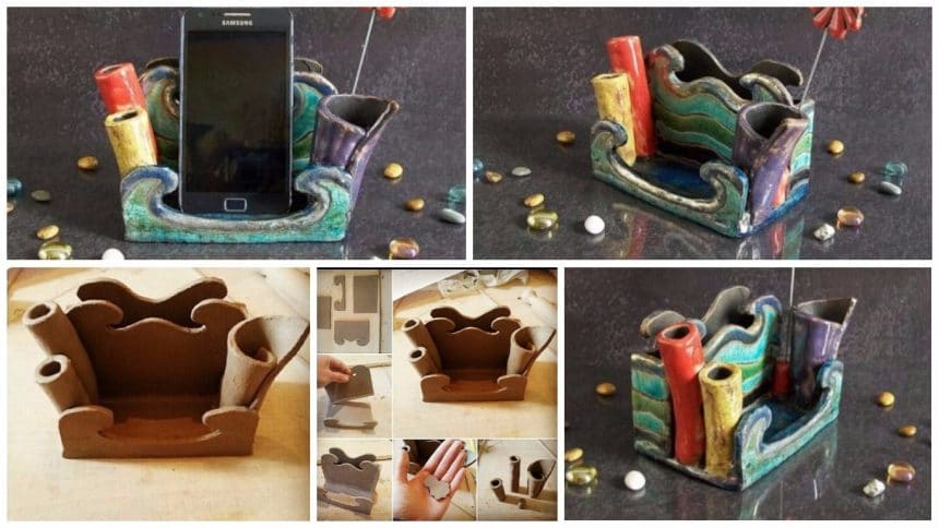 How to make pottery smartphone holder with desk organize