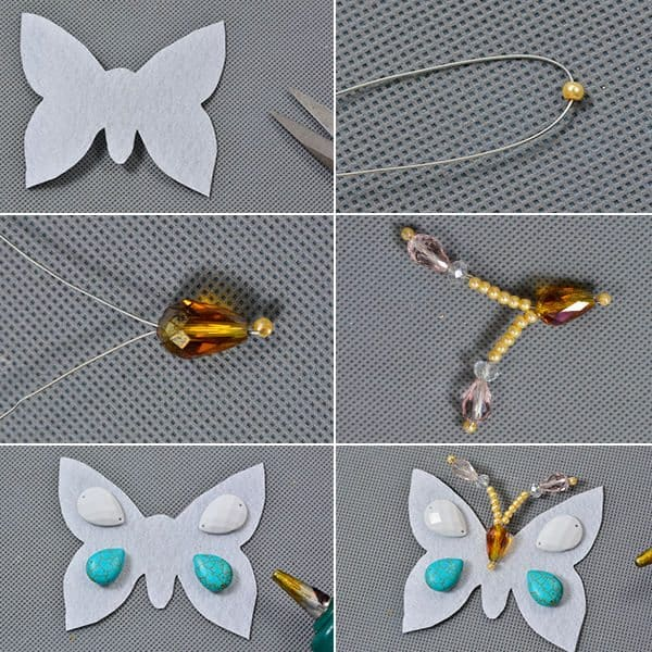 3-starnd beaded butterfly necklace