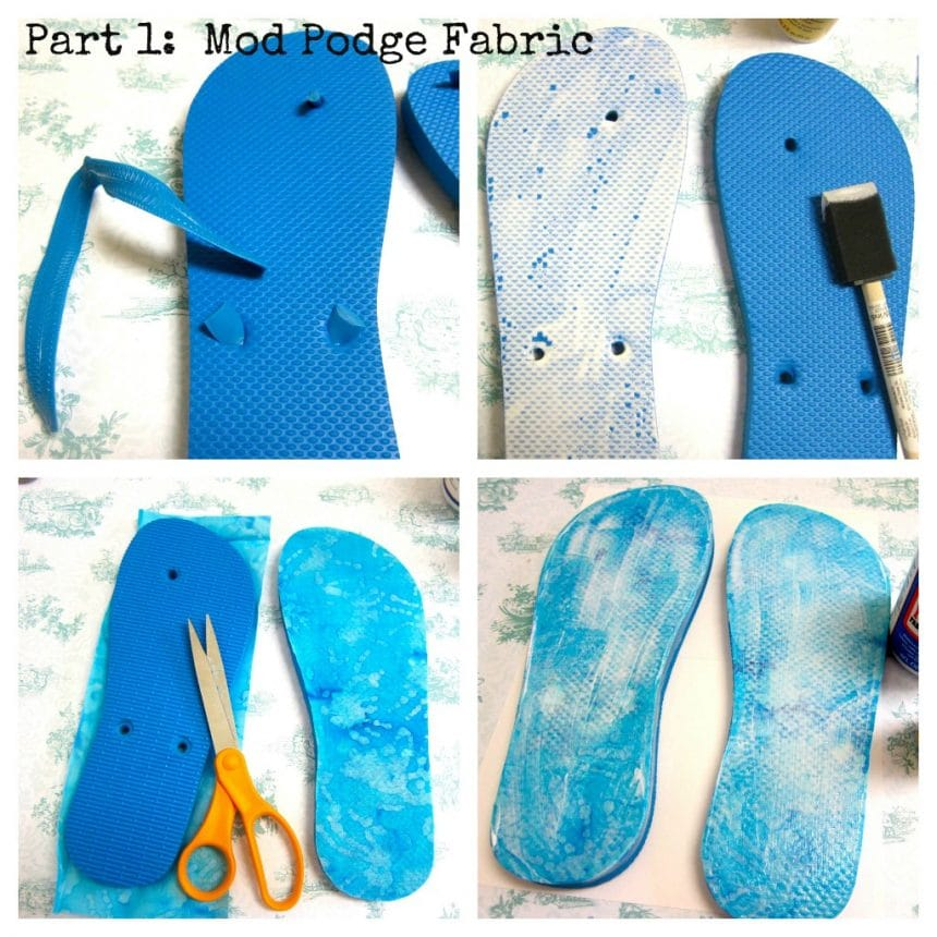 flip flops with mod podge and jewelry