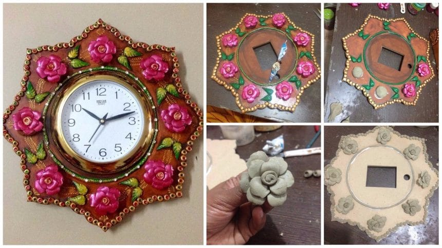 How to make wall clock with paper-mache roses