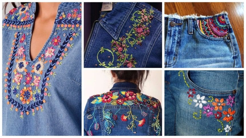 Embroidery for old jeans