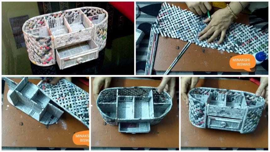 How to make a desk organizer using cardboard and newspaper
