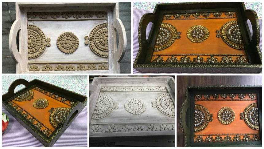 How to to make ethnic hand painted tray
