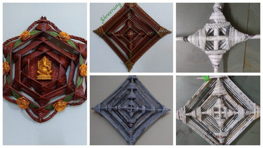 How to make wall hanging from newspaper roll